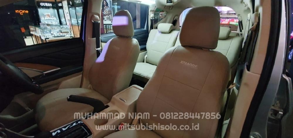 Seat cover jok mb tech xpander beige krem depan bonus